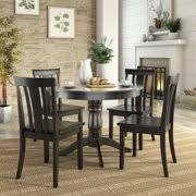 Lexington 5 Piece Dining Set With Round Table And 4 Slat Back Chairs