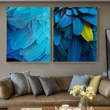 moderne helle leinwand malerei cuadro abstrakte blau gelb feder poster und druck für wohnzimmer schlafzimmer einzigartige wand kunst dekor