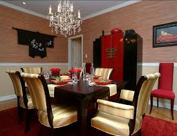 Red And Black Dining Room With Asian Style Design Larisa McShane