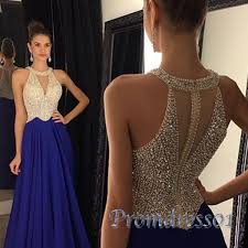 elegant sequins top navy blue chiffon prom dress for teens ball