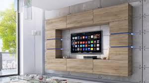 wohnwand bloom sonoma eiche matt 264 cm mediawand medienwand design modern led beleuchtung hängewand hängeschrank tv wand