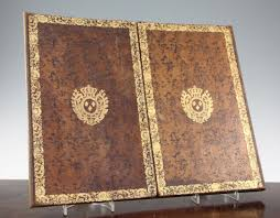 Leather Desk Blotters Uk by A French Gilt Tooled And Brown Leather Double Folding Desk Blotter