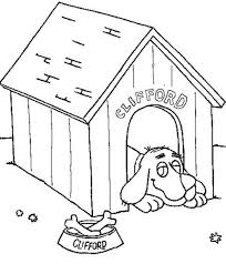 Clifford The Big Red Dog Lazing In His House Coloring Page