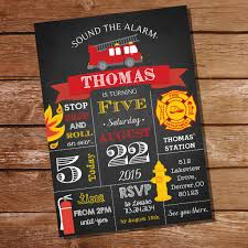 Fire Truck Chalkboard Superb Firefighter Birthday Invitations ...