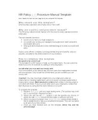 Training Policies And Procedures Template Company Manual Employee Example Poli Hr Free Sample For Resume P