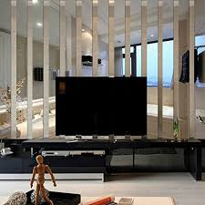3D Long Rectangle Acrylic Mirrors Wall Stickers TV Background Living Room Bedroom Home Decoration Border Decal Silver