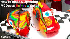 How to make a Cars 3 Lightning McQueen Rainbow cake Cars movie