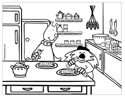 Kitchen Cooking Coloring Page