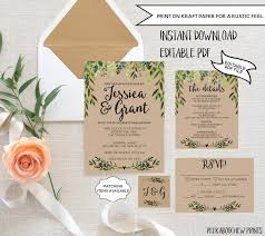 Wedding Invitation Template Set EDITABLE Rustic RSVP Card Detail Printable Garden Greenery Laurels Bohemian Kraft PCGLWS