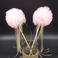 Tulle Pom Pom Decorations by Aliexpress Com Buy Pink Pom Wands Pink And Gold Baby Shower