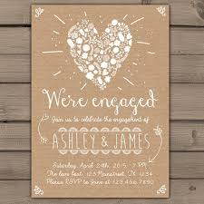 Engagement Party Invitation Invite Dinner Wedding Rustic Shabby Chic Heart Flowers Paper DIY Printable