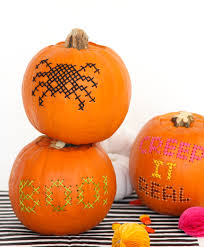Pumpkin Carving Drill Holes by Halloween Diy Cross Stitch Pumpkins U2013 Design Sponge