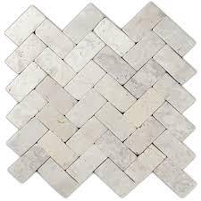 Hover Show Cream Herringbone Stone Mosaic Tile