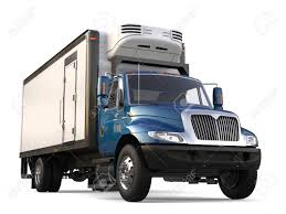 Blue Cargo Refrigerator Truck Stock Photo, Picture And Royalty Free ...