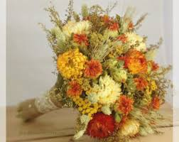 Burnt Orange Dried Preserved Wedding Flower Bouquet