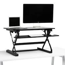 Dual Monitor Standing Desk Attachment by Black Medium Peak Adjustable Height Standing Desk Riser