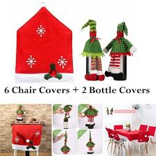 Zeawhc 6 Christmas Chair Covers And 2 Packs Wine Bottle For Holiday Party Festival Kitchen Dining Room