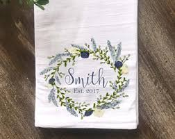 Personalized Farmhouse Flour Sack Tea Towel Kitchen Wedding Gift Housewarming