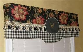 Jacobean Floral Design Curtains by French Country Provence Valance Curtain Jacobean Floral Black
