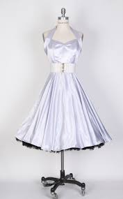 50s Halterneck Satin Swing Dresssilver Zoom