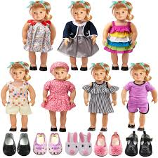LFORBB American Girl Doll Clothes 7 Clothes And 5 Shoes