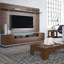 Manhattan Comfort Vanderbilt TV Stand And Cabrini 22 Floating Wall TV Panel With LED Lights