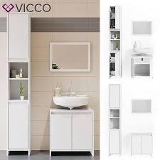 vicco badmöbel set weiß spiegel waschtischunterschrank hochschrank bad