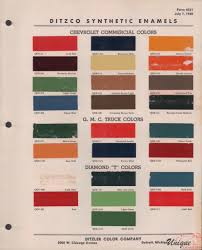 100 Chevrolet Truck Colors GM Commercial Paint Chart Color Reference