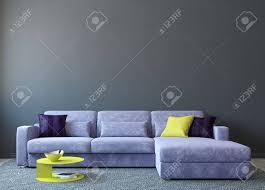 moderne wohnzimmer interieur mit sofa in der nähe leere graue wand 3d darstellung foto auf buchdeckel wurde mir