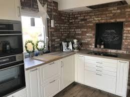 ziegelriemchen antik rustik küche küchenrückwand