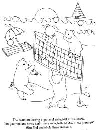 Print Bears Playing Volleyball Coloring Page In Full Size