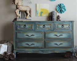 Blue Dresser French Provincial Vintage Buffet Painted Furniture Hand