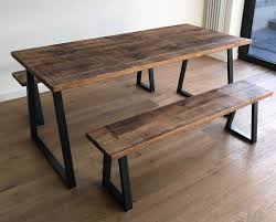 Oak Pine Industrial Reclaimed Rustic Wood Steel Metal Kitchen Dining Table Benches