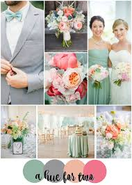 Greyed Jade Grey Peach And Pink Wedding Colour Scheme