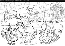 Adult Farm Animals Cartoon For Coloring Book Vector Of Printables