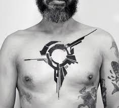 Mens Geometric Simple Chest Black Ink Tattoo Inspiration