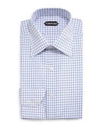 tom ford windowpane pattern silk dress shirt in blue for men lyst