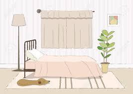 gemütliches schlafzimmer in rosa und beige helle farbe
