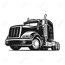 Cool Truck Cargo Black And White Illustration Stock Photo, Picture ...