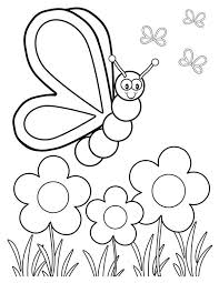 Flowers And Butterflies In The Garden Coloring Pages For Kids Printable Gardening