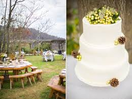 Rustic Mountain Wedding Cake With Pinecones