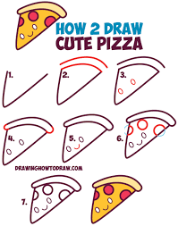 How to Draw Cute Kawaii Pizza Slice with Face on It Easy Step by Step