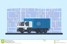 Delivery Lorry Car With Map, Route And Geolocation Marker. Stock ...