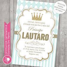 Invitacion Imprimible Corona Príncipe Bautismo Baby Shower 200