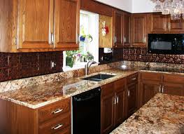 Tin Tiles For Backsplash by Classic Kitchen Ideas With Brown Copper Tin Tile Backsplash Black