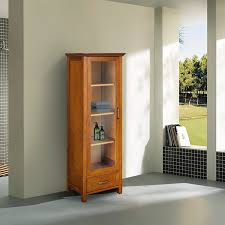 oak finish linen tower glass door bathroom storage cabinet w