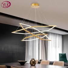 moderne led kronleuchter für wohnzimmer design drei ringe leuchte wohnkultur gold hängen le kurze innen beleuchtung
