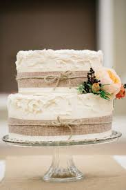 Two Tiered Wedding Cake With Burlap Details