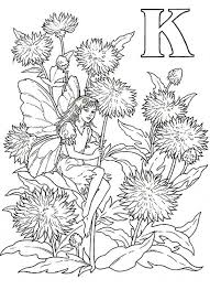 Alphabet Elf Letter K Coloring Pages Beautiful Girl At Flower Garden