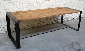 table r t001 giani desmet meubles indus bois métal et cuir